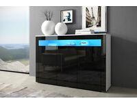 Cabinet Sideboard Cupboard Black - High Gloss