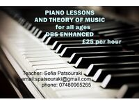 Piano Lessons & Theory-French Greek Language-25£/h (£20 morning Mon-Fri)-Experienced Teacher Tutor