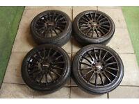 "Genuine Finichi Milano 17"" Alloy wheels & Tyres 5x114.3 JDM Mr2 Civic Type R S2000 Mazda 3 Fto"
