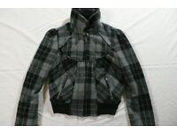 Topshop Grey Check Bomber Jacket size 6 Petite