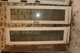 Pair of glazed doors ('French windows') with leaded lights