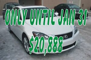 2012 Lexus IS 250 AWD LEATHER, SUNROOF, AUTO ALLOYS