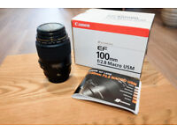 Canon 100mm f2.8 Macro Lens - perfect condition