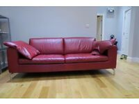 NATUZZI DESIGNER RED LEATHER LARGE SOFA COUCH EXCELLENT CONDITION ��450 ONO