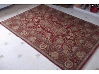 Burgandy red and gold 100% wool rug