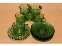 Set Of 6 Green Glass Espresso Cups & Saucers
