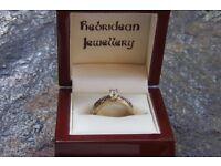 Scottish Celtic Diamond Engagement Ring white gold and yellow gold