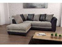 🔥💥UK Best Selling Brand🔥💥 Brand New Jumbo Cord 'Double Padded' Byron Corner Or 3+2 Leather Sofa
