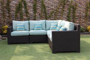 Provence Wicker Sunbrella Spectrum Mist Corner Sectional Sofa by CIEUX