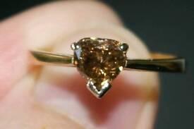 Stunning 18 ct Trillion cut Cinnamon 1.11ct Diamond Engagement Ring. Valued at £3,800