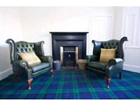 Green Chesterfield Sofa set - 3 seater wingback armchair