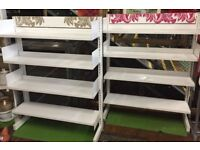 2 White Steel Adjustable Shelves and 6 shopping baskets