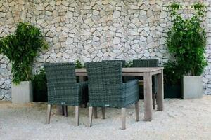 FREE Delivery in Kelowna! 5 PC Weathered Teak Outdoor Dining Table Set with Grey Wicker Patio Chairs by Cieux!
