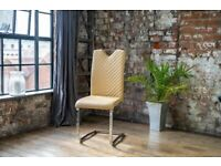 2 New Leather Dining Chairs ( Caramel Colour ) Chrome Cantilevered Legs
