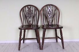 2 X WHEELBACK CHAIRS SOLID OAK STURDY SOLID SECURE - UK WIDE DELIVERY