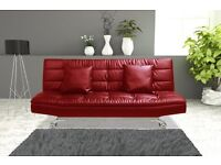 Cream or Red Sofabed Faux Leather Brand New Boxed Free Delivery Zone 1 and Free Home Assembly
