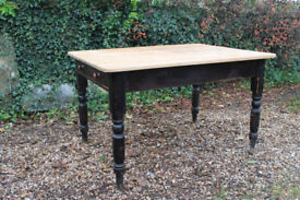Lovely Victorian pine farmhouse table with original paint, turned legs, large drawer, scrubbed top