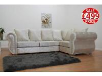 Cream crush velvet sofa