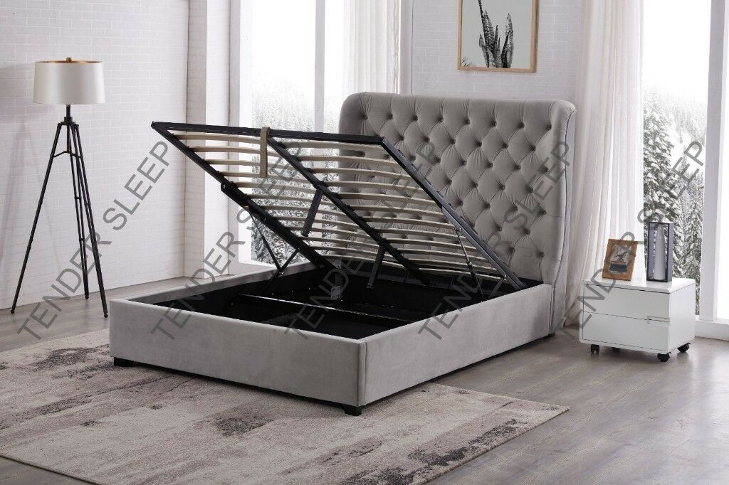 4790d1af5595 BRAND NEW DOUBLE VELVET BUTTERFLY STORAGE OTTOMAN GAS LIFT UP BED FRAME ON  SPECIAL KING OFFER SIZE