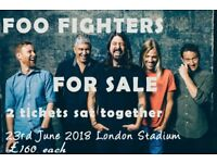 2 x Foo Fighters Tickets for sale 23rd June 2018 London Stadium £160 each