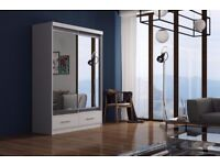 BRAND NEW MARGO 2 DOOR SLIDING #WARDROBE WITH FULL MIRROR -EXPRESS DELIVERY