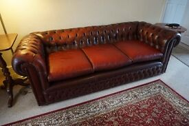 Leather Chesterfield 3 seater sofa and Chair