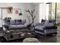 *COME AND VIEW IT ,TRY IT THEN BUY IT* BRAND NEW DINO JUMBO CORD 3+2 SOFA BLACK/GREY FABRIC