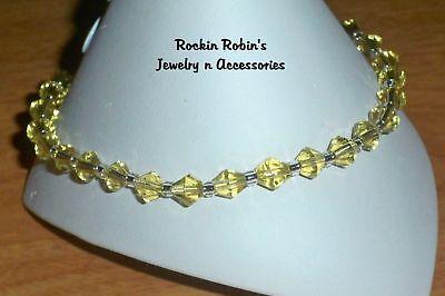 "Yellow Diamond Stretch Anklet Ankle Bracelet -10"""