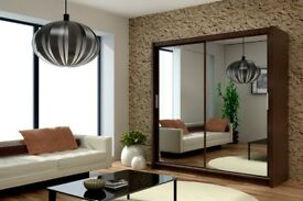 BLACK, WHITE, WALNUT & WENGE COLOURS - NEW BERLIN FULL MIRROR 2 DOOR SLIDING WARDROBE IN 5 DIMENSION