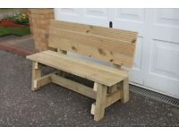 NEW, HANDMADE FURNITURE, WOODEN GARDEN/PATIO BENCH 1.4m