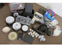 Pots and pans,food processors,plates,cutlery,plastic boxes etc.