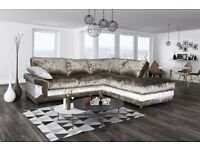 Really nice BRAND NEW brown and mink crushed velvet corner sofa and footstool. can deliver