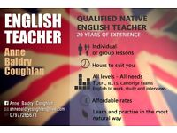 Qualified Native English Teacher offers Classes for all levels. All Cambridge Exams, Conversation