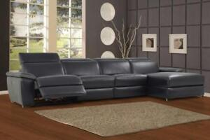 FREE Delivery in Montreal! Aura Leather Power Reclining Large Sectional with Right Facing Chaise!