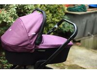 Joie Chrome Black Chassis pram and pushchair 3 in 1 - Damson