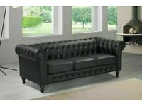 🔵💖🔴aesthetic design 🔵💖🔴CHESTERFIELD PU LEATHER SOFA 3 SEATER-CASH ON DELIVERY