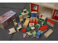 Wooden Childrens Doll House with Furniture