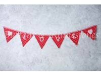 Fabric bunting for weddings, any colour or pattern, made to order