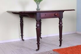 RUSTIC ANTIQUE MAHOGANY DROP LEAF SIDE TABLE WITH 2 DRAWERS ON EACH END - UK DELIVERY