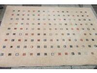 Neutral colour thick soft wool rug 140 cm x 185 cm