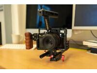 Sony a7s with rig and commlite canon adapter