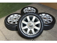 "Genuine VW Golf MK5 16"" Alloy wheels & Tyres 5x112 Passat T4 Audi A3 A4 Touran Caddy"