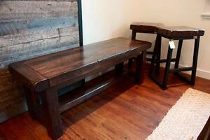 On SALE! Provencal Bench $500 & Wood & Iron Bar Stool $275 each. By LIKEN Woodworks