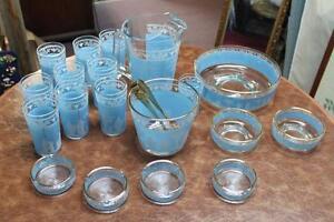 vtg. Jeannette Glass Grecian Blue Jasperware glassware 20 Piece Kingston Kingston Area image 8