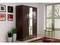 LUX 3 Door Style Mirror Wardrobe in Wenge Dark brown, White Living room, Bedroom cupboard, cabinet