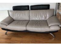 DFS Cream Black Faux Leather Headrest 3 Seater Sofa