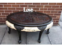 VINTAGE CHINESE OVAL CARVED/ORNATE COFFEE TABLE