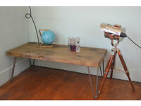 Rustic Industrial Coffee Table Mid Century Modern Style