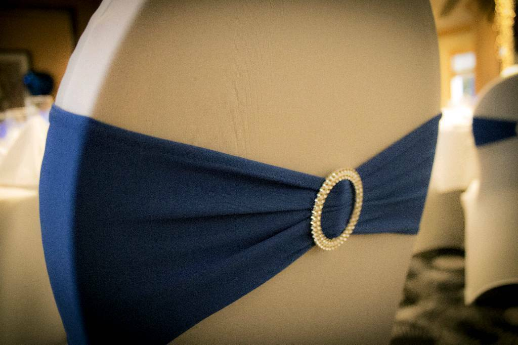 Royal blue chair sashes wedding
