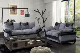-UK Top Selling Brand- New Dino Jumbo Cord Corner or 3&2 Seater Sofa in Black/Grey Or Brown/Beige